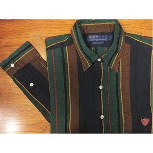 Polo Ralph Lauren Blue/Green/Brown Shirt Sz L
